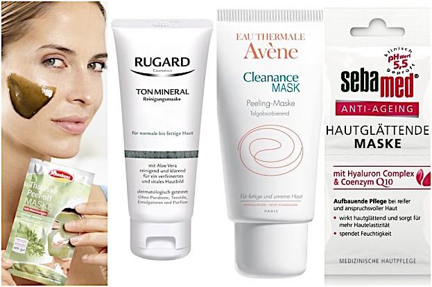 Schaebens Thalasso-Maske, Rudgard TonMneral Maske, AVENE Cleanance Peeling Maske, sebamed Hautglättende Maske