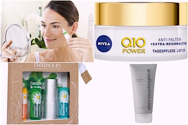 CD Augencreme, Herbacin Lippenset, Nivea Q 10 Tagespflege, Dermalogica Body Scrub