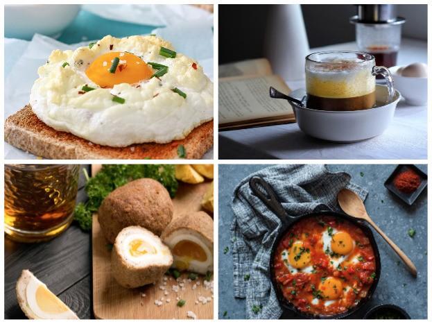 Im Uhrzeigersinn: Cloud Egg, Egg Coffee Scotch Egg, Shakshuka