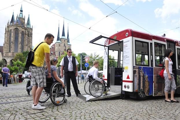 In Erfurt mit dem Rollstuhl unterwegs in der Altstadt