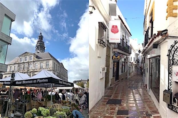 Blumenmarkt und Straße in Maastricht