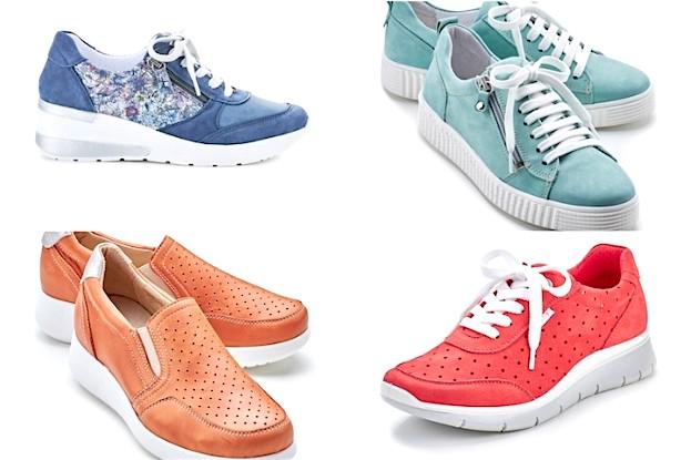 Ober Reihe:Hallux-valgus Sneaker Hüftschwung, trittsicherer  Reißverschluß-Sneaker Untere Reihe: Ultraleicht Slipper Bottalato, Wohlfühl-Klima Sneaker