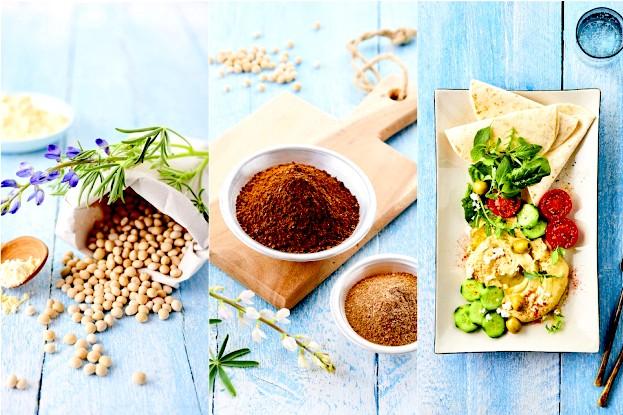 Süßlupinen als Samen, gemahlen und Humus-Rezept