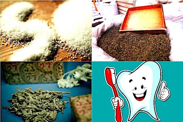 Jod-Salz, schwarzer und grüner Tee zur Kariesprophylaxe