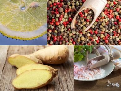 Zitrone, Pfeffer,  Ingwer und Salz - gut fürs Immunsystem