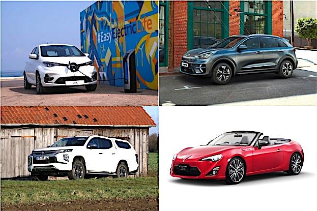 Renault Zoe, Seat Black Edition, Toyota GT86 und Mitsubishi (von re oben nach li oben)