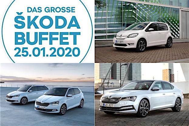 (Modelle von re oben nach li unten): Škoda CITIGOe iV, SUPERB iV, FABIA DRIVE 125 BEST OF, FABIA COMBI DRIVE 125 BEST OF