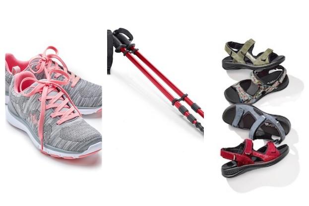 Ultraleicht-Sneaker, Trekking-Stöcke und Tallux-Sandalen