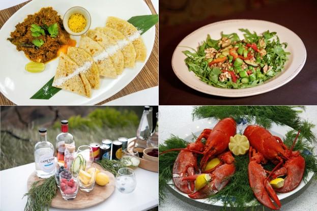 MaldivanChickenCurry, Farro Risotto, Südafrikanische Gins, Lobster Salad,