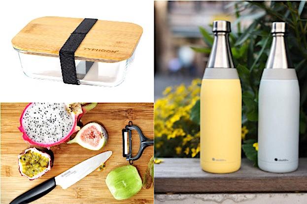 Thypoon Glas Lunchbox; Kyocera Obst-Gemüse Messer; Aladdin Isolierflasche