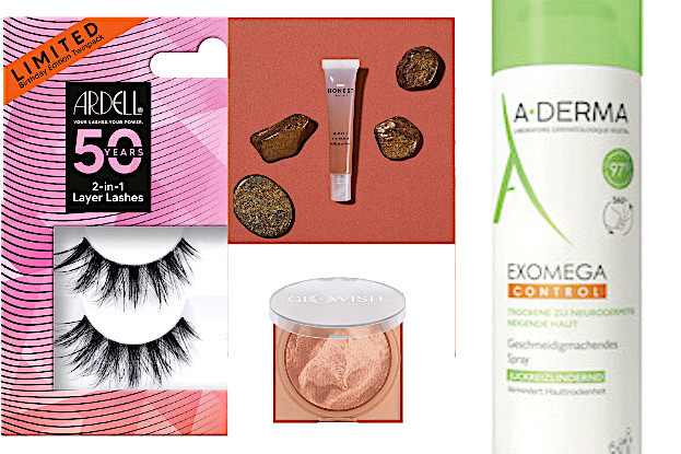 Ardell Wimpern, Jessica Alba Lip Gloss, Glowish Soft Radiance Bronzig Powder, A-DERMA EXOMEGA Control Spray
