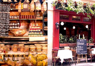 Links: Charcuterie / Rechts: Terrasse Montorgueil  - ©Paris Tourist Office Photographe Amélie Dupont