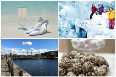 Fotos im Uhrzeigersinn: Hochzeit am Strand, Gletscherspalten-Ausflug, Liverpool, belgische Trüffelschokolade