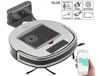 WLAN-Staubsauger-Roboter PCR-7000 mit Bürstfunktion - ©PEARL