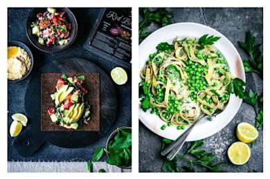 Rote Bete Wrap und Tagliatelle mit grünen Erbsen - ©PlanetPlant Based