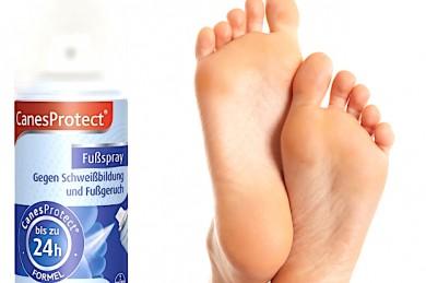 CanesProtect® Fußspray sorgt für eine gesunde Fußumgebung - Seine antimikrobiellen Eigenschaften hemmen u.a. die Vermehrung von Bakterien. - ©Bayer Vital GmbH.