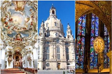 Wieskirche, Dresdner Frauenkirche, Dom zu Aachen - drei von vielen sehenswerten Kirchen - ©Pixabay (3)