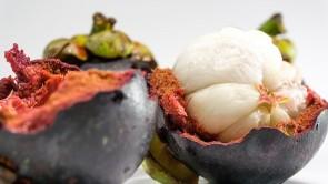 Im Inneren der dicken Schale der Mangostane sitzt das saftige Fruchtfleisch