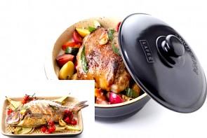 Römertopf Schmortopf mit Deckel rund und Römertopf Plancha mit Grill-Noppen rechteckig